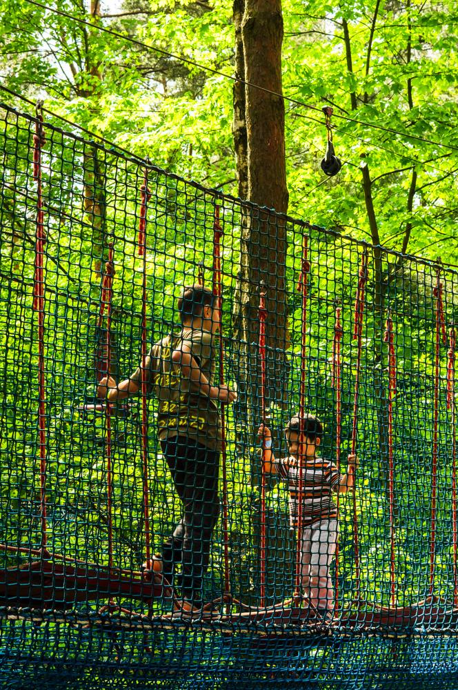Dwoje dzieci pokonuje tor przeszkód wparku linowym zabezpieczony siatką asekuracyjną - Symar.pl